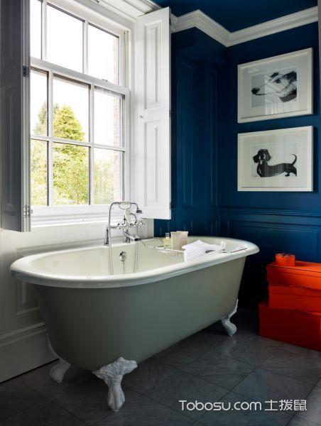 卫生间蓝色细节混搭风格装潢图片