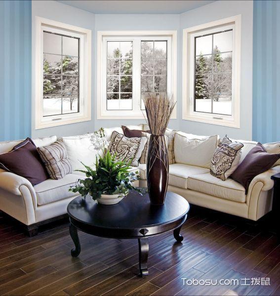 客厅蓝色窗台现代风格装修图片