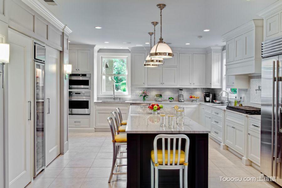 厨房白色餐桌美式风格装潢效果图