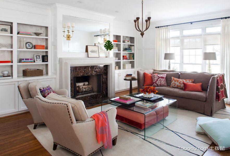 客厅白色博古架混搭风格效果图