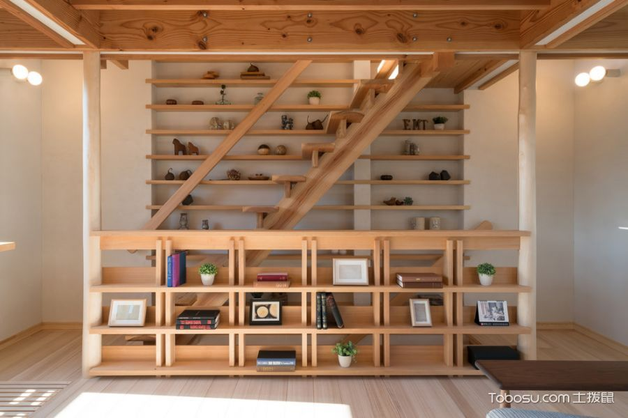客厅咖啡色书架日式风格装修设计图片