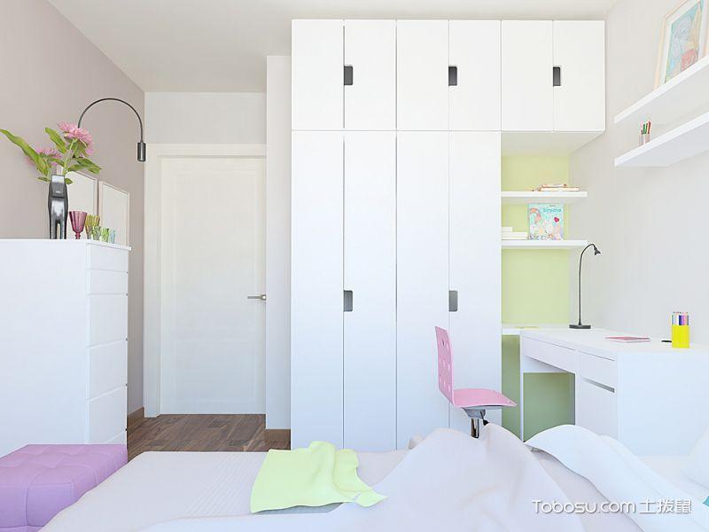儿童房白色衣柜北欧风格装饰设计图片