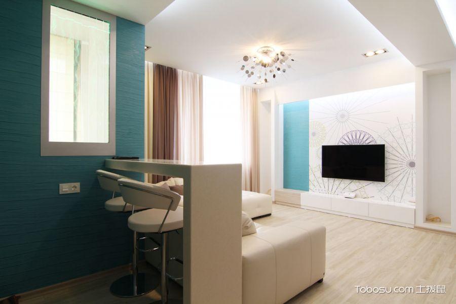 客厅蓝色吧台北欧风格装潢效果图