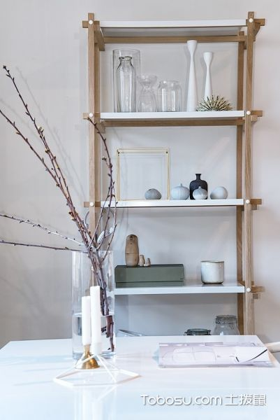 餐厅米色博古架北欧风格装潢图片