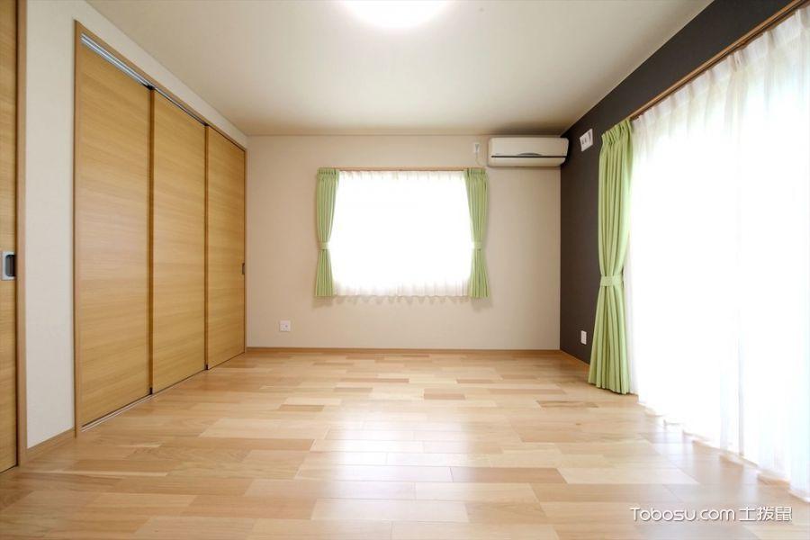 卧室米色窗帘日式风格装修图片