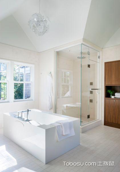 浴室白色背景墙现代风格效果图
