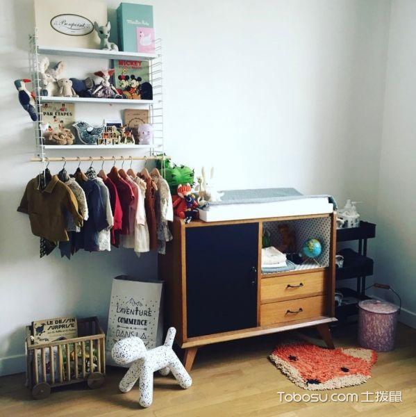 儿童房咖啡色衣柜北欧风格装修设计图片