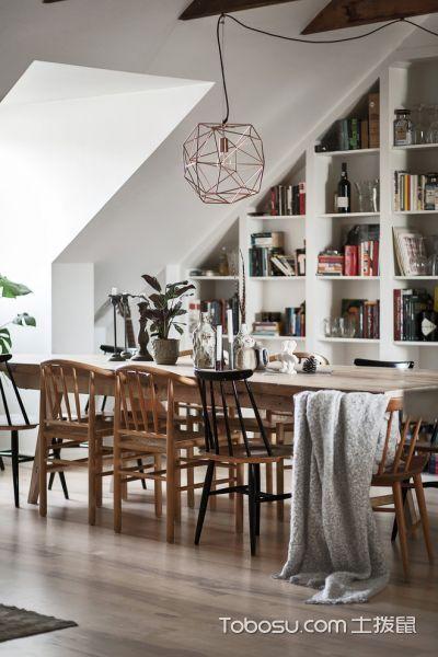 餐厅白色博古架北欧风格装修设计图片