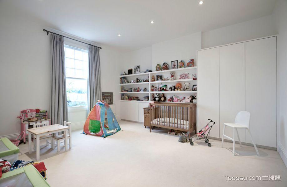 儿童房白色衣柜北欧风格装修设计图片