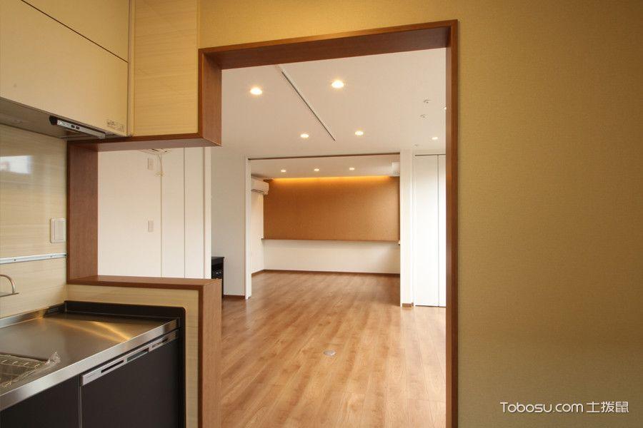 厨房咖啡色隔断日式风格装潢效果图