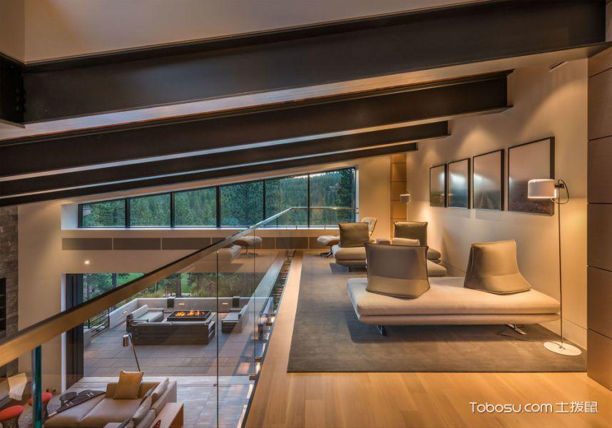 客厅灰色阁楼现代风格装饰图片