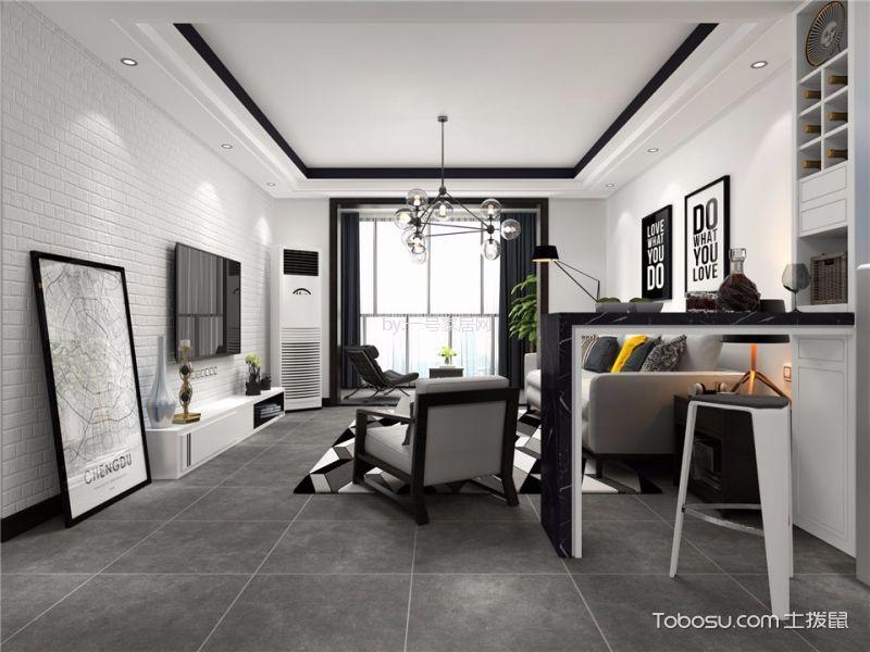 华启金悦府89平两居室现代简约风格装修案例效果图