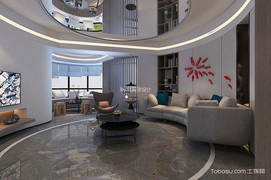 美新广场128平米现代风格三居装修效果图