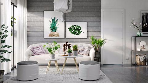 颐景湾畔100平时尚简约风格二居室装修效果图