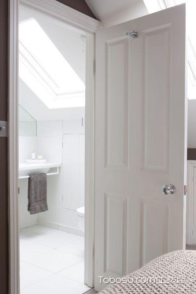 卫生间白色推拉门现代风格装潢效果图