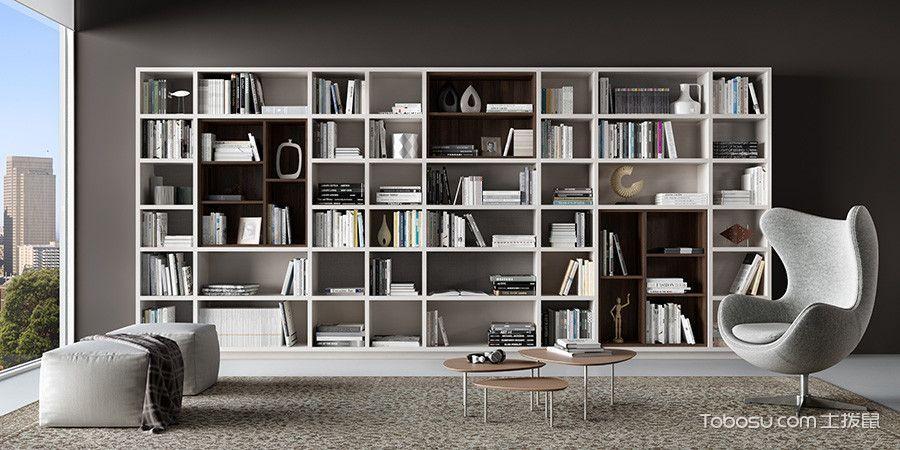 客厅白色书架现代风格装饰图片