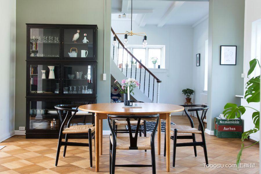 餐厅咖啡色博古架北欧风格效果图