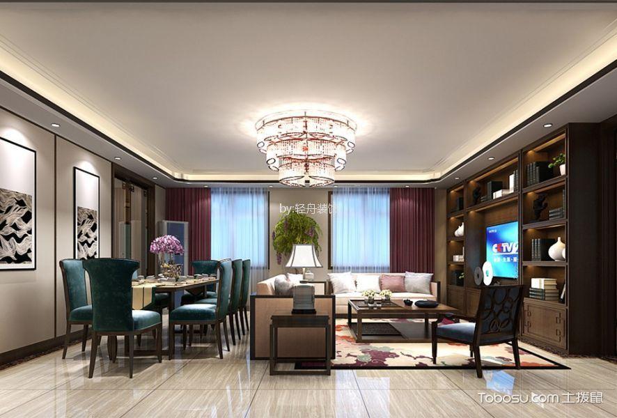 客厅彩色灯具新中式风格装饰图片