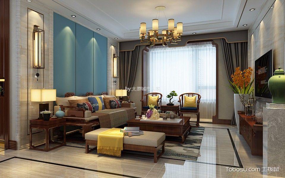客厅彩色灯具新中式风格装饰效果图