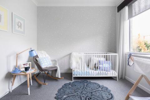儿童房白色床北欧风格装潢效果图