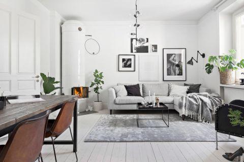 客厅背景墙北欧风格装修设计图片