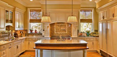 厨房美式风格效果图大全2017图片_土拨鼠优雅富丽厨房美式风格装修设计效果图欣赏