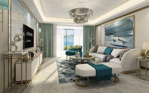 127平米欧式风格三房两厅室内装修效果图