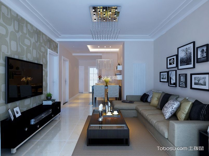宏瑞星城90平后现代风格二居室装修效果图
