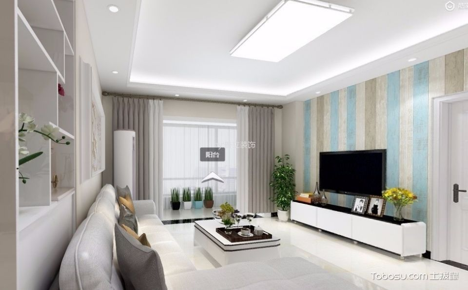 现代简约风格40平米一室一厅装修效果图