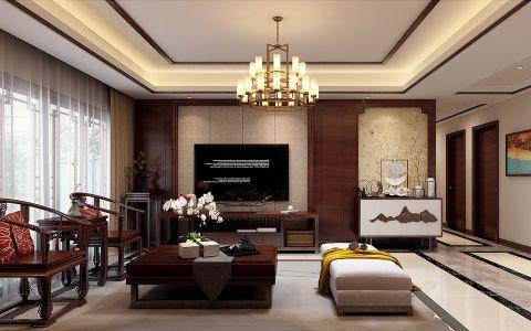 滨湖世纪城福徽苑170平方四居室中式风格装修效果图