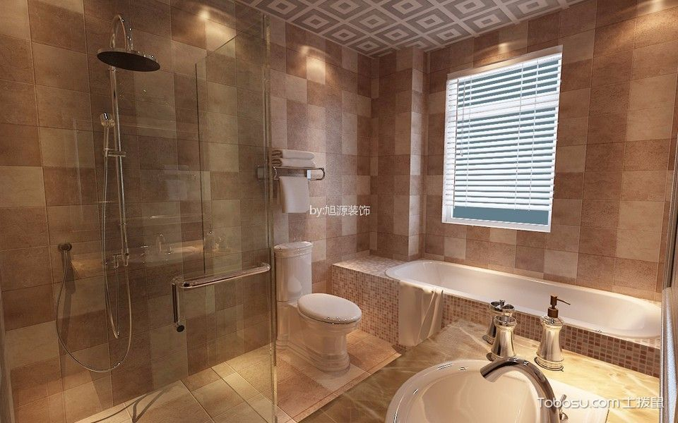 2019美式卫生间装修图片 2019美式浴缸装修设计