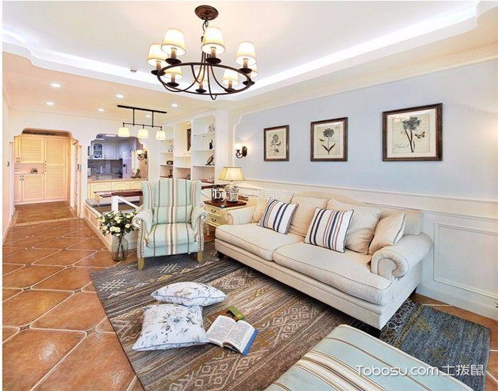 水湘苑110平美式风格三居室装修效果图