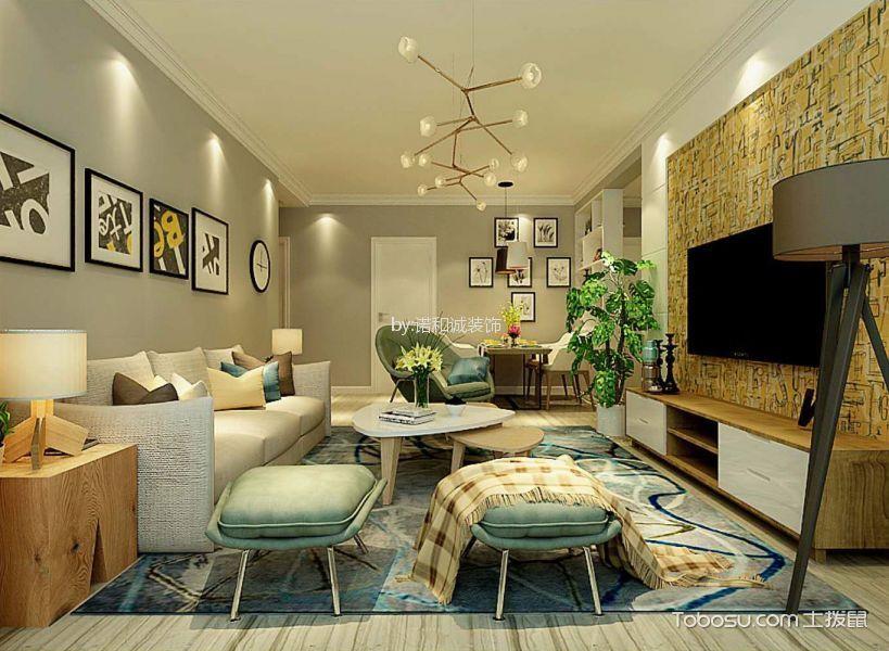 客厅 背景墙_鲁能领秀城北欧宜家风格95平米三居室装修效果图
