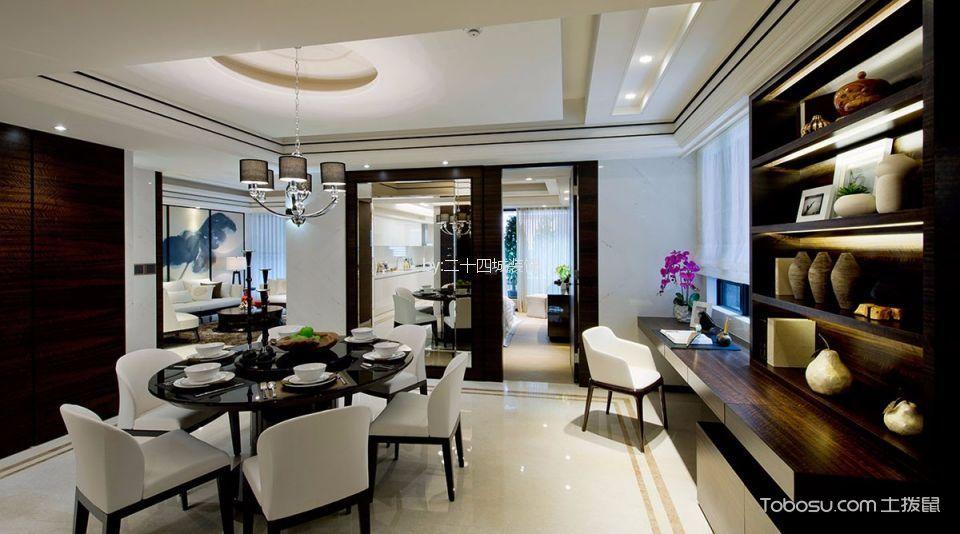 餐厅白色地砖新中式风格装饰效果图