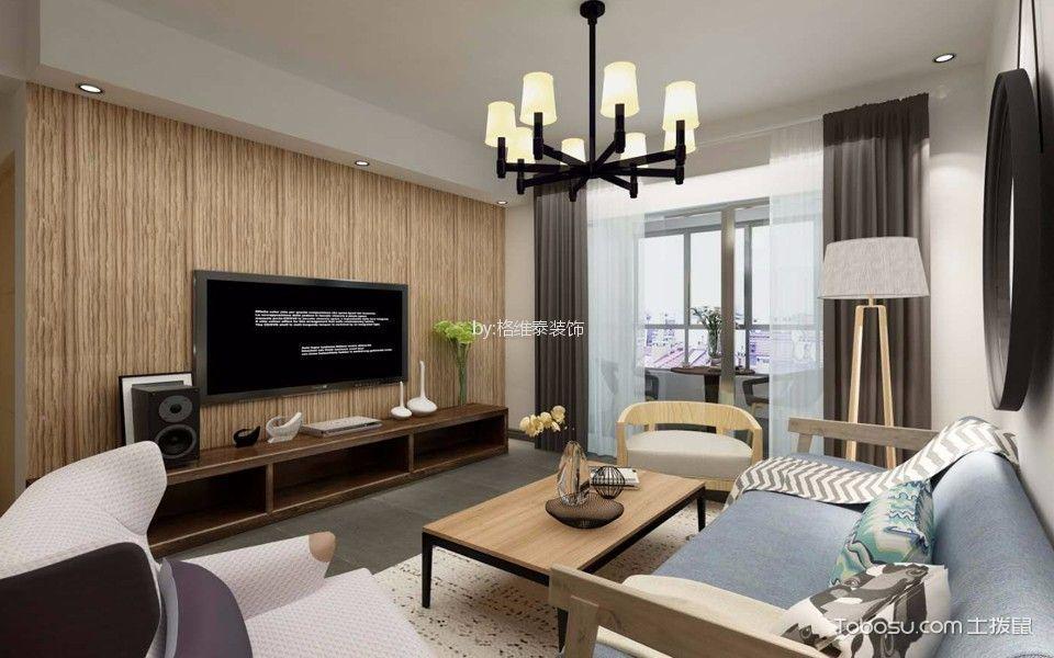 绿地中央文化城88平米现代简约风格二居室装修效果图