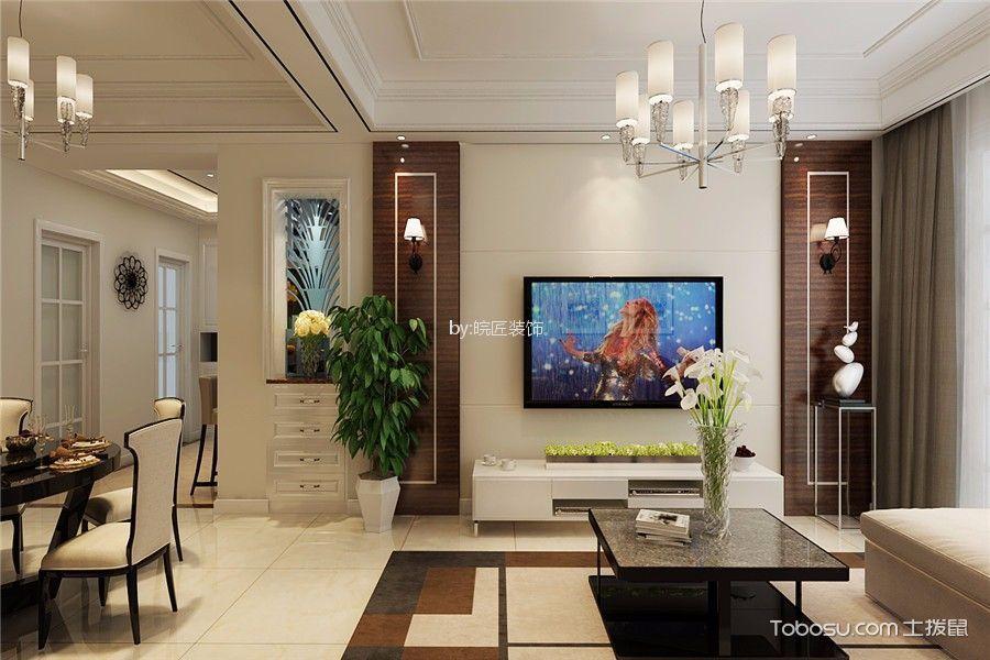 客厅 背景墙_水墨兰庭100平美式风格三居室装修效果图