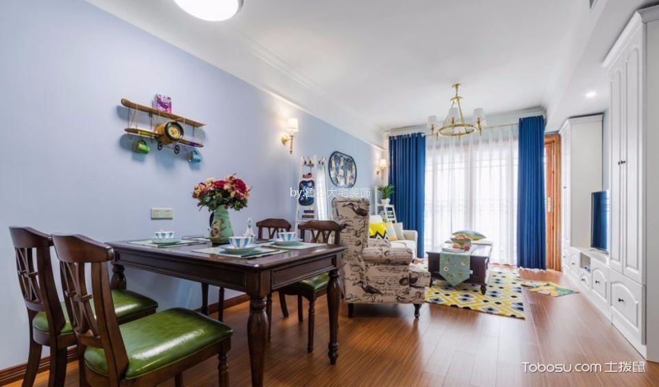 阿奎利亚80平米美式风格两室一厅一厨一卫装修效果图