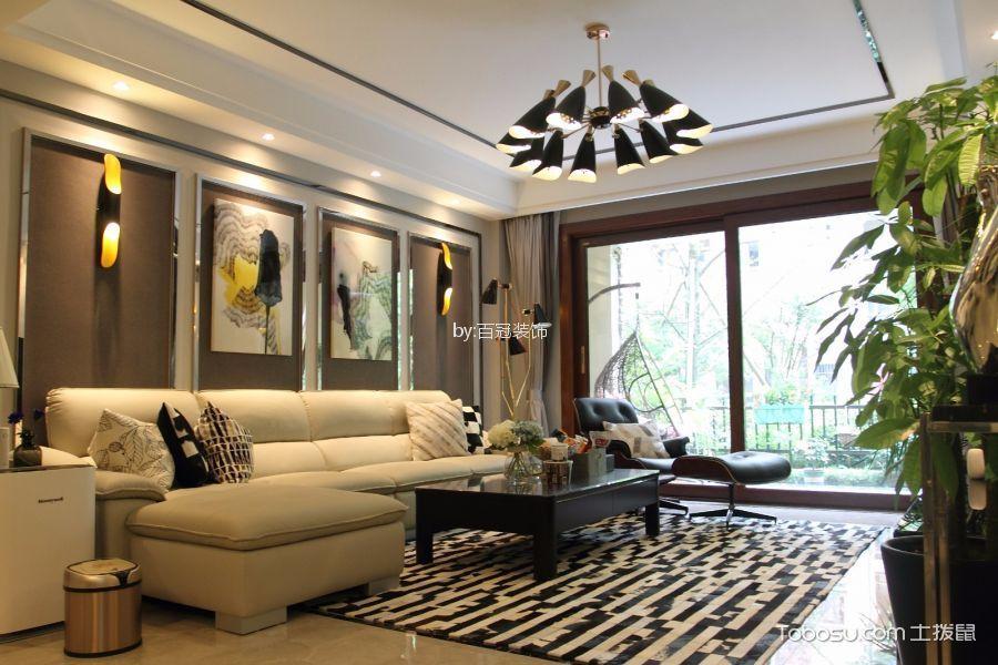 大富山庄110平米现代简约风格二居室装修效果图