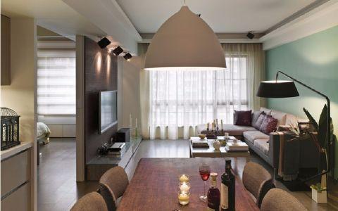 100平米白色现代简约风格二居室装修效果图