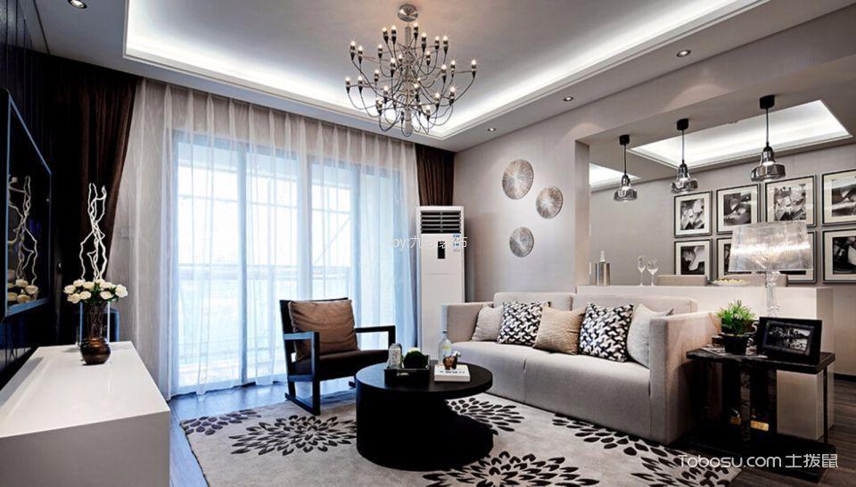龙溪城94平米现代风格二居室装修效果图