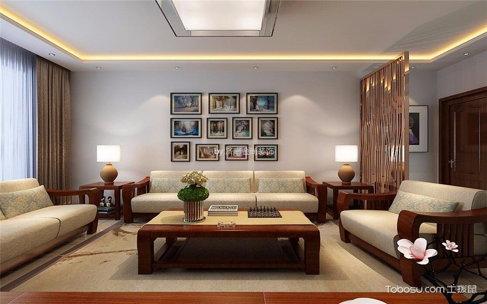 富翔天地156平米旧房改造带阁楼新中式风格复式装修效果图