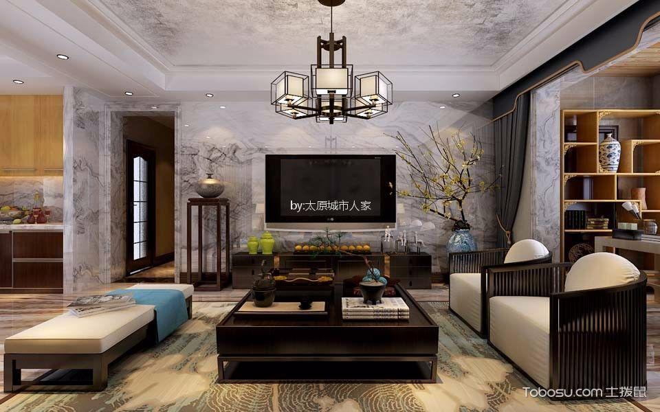 公园伍号140平米新中式风格三居室装修效果图