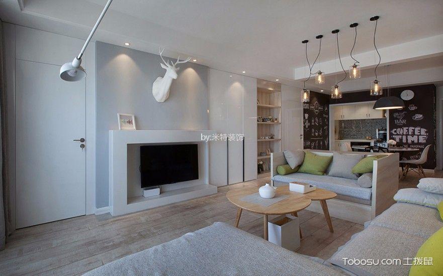 客厅 电视柜_金秋小区90平米现代简约风格二居室装修效果图