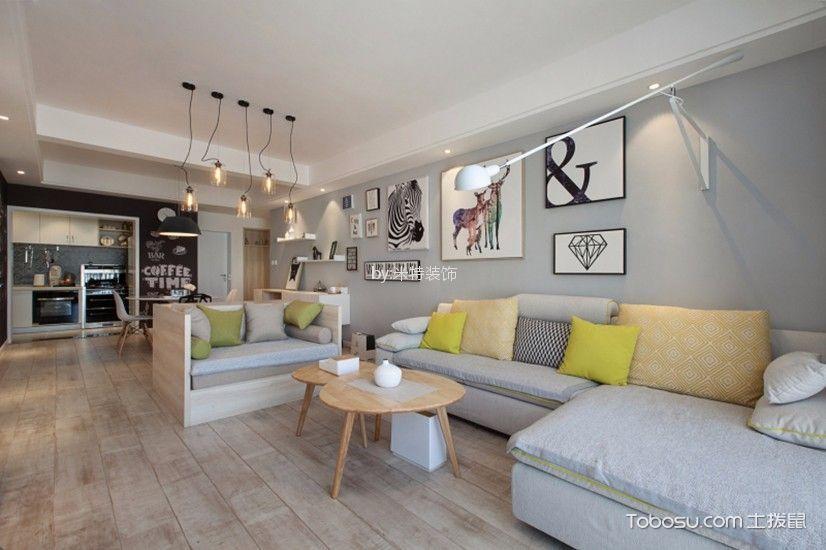 金秋小区90平米现代简约风格二居室装修效果图