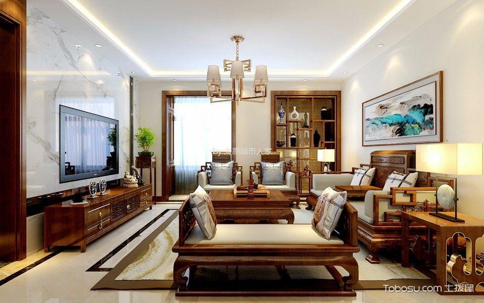 客厅彩色灯具新中式风格装修图片