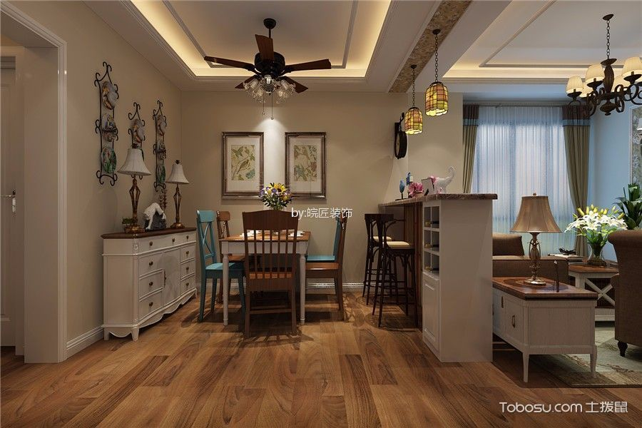 海尔公馆美式风格100平三居室装修效果图