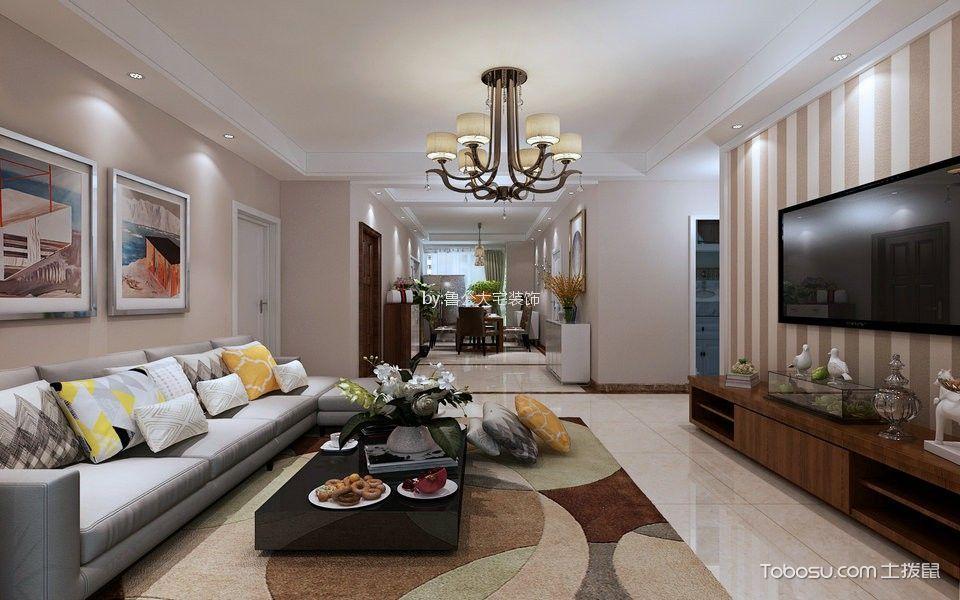 绿城百合98平现代简约风格二居室装修效果图