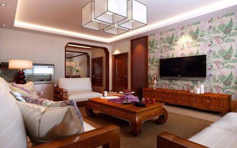 客厅茶几东南亚风格装潢图片