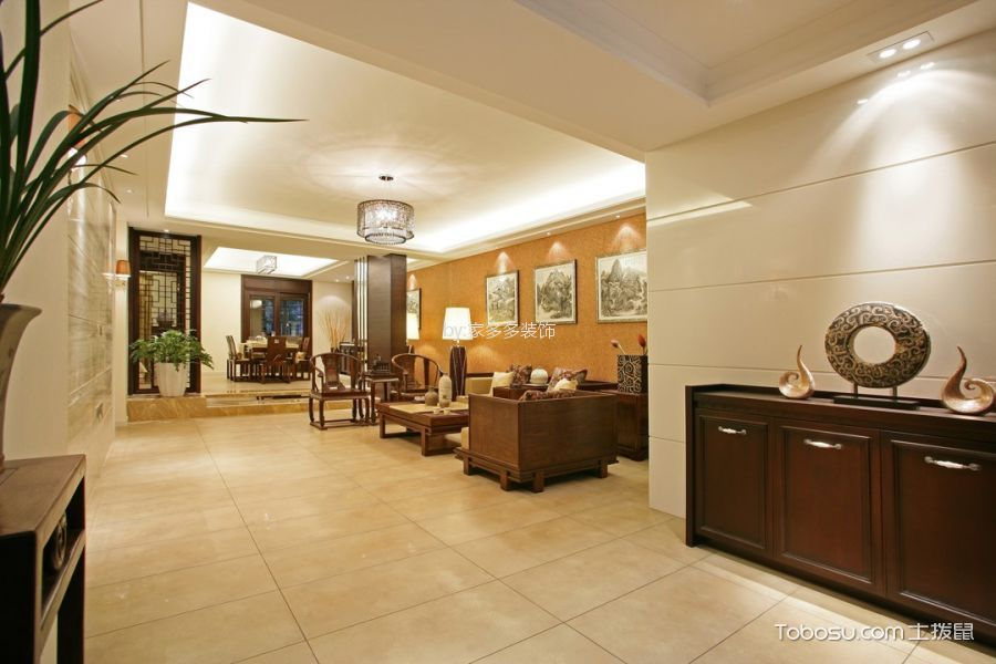 客厅白色灯具中式风格装饰图片