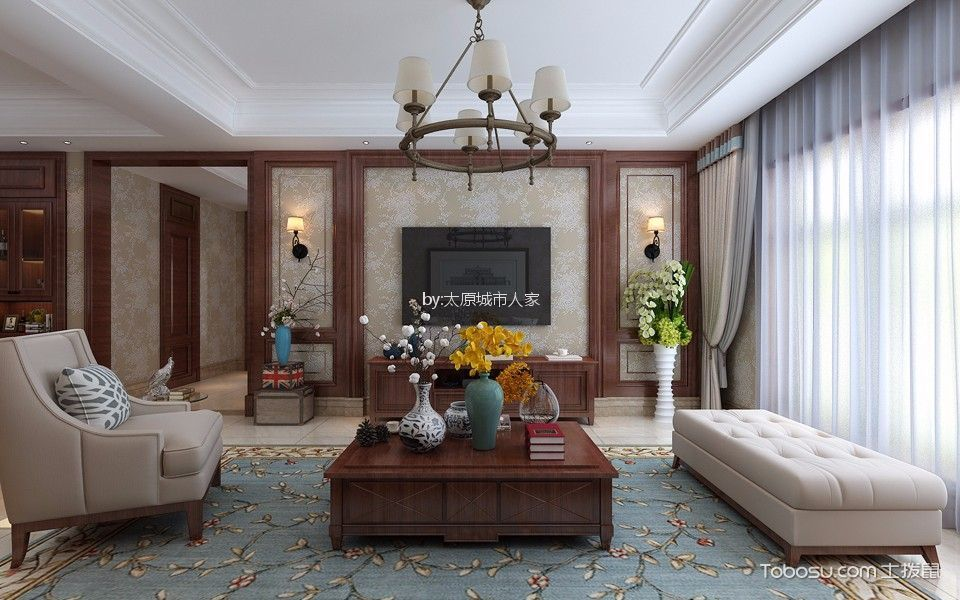 客厅彩色灯具新中式风格装潢设计图片